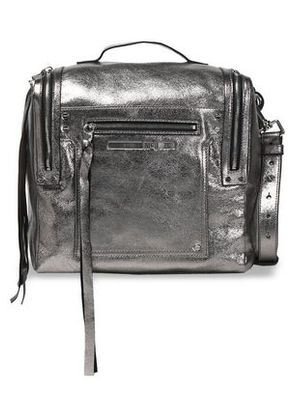 Mcq Alexander Mcqueen Woman Fringe-trimmed Glossed-leather Shoulder Bag Silver Size -