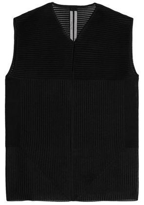 Rick Owens Woman Paneled Ribbed Silk Top Black Size S
