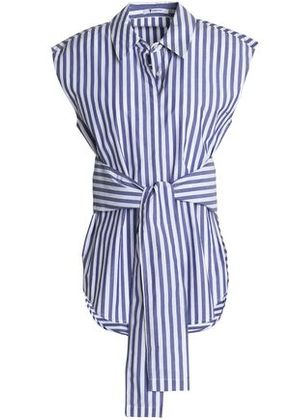 T By Alexander Wang Woman Tie-front Striped Cotton-poplin Shirt Blue Size 4