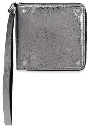 Mcq Alexander Mcqueen Woman Metallic Cracked-leather Wallet Silver Size -