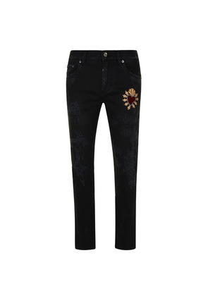 DOLCE AND GABBANA Heart Embellishment Jeans