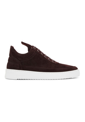 Filling Pieces Burgundy Waxed Suede Sneakers
