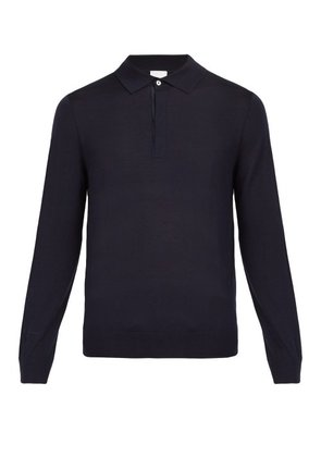 Paul Smith - Long Sleeved Fine Knit Wool Polo Shirt - Mens - Navy