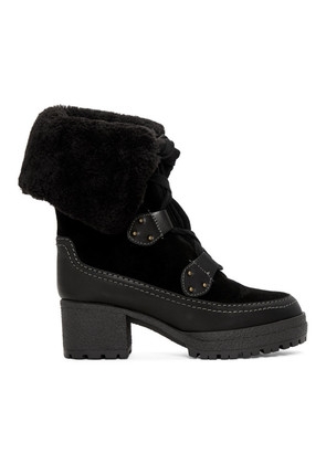 See by Chloé Black Shearling Verena Boots