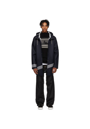 Band of Outsiders Navy Striped Stockholm Raincoat