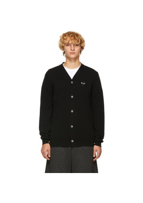 Comme des Garçons Play Black Men's Fit Heart Patch V-Neck Cardigan