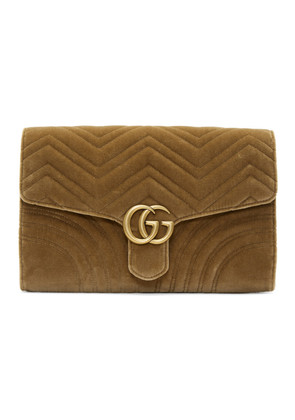 Gucci Brown Velvet GG Marmont 2.0 Clutch