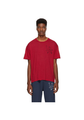 Adaptation Red Cotton Cashmere 'LA' T-Shirt