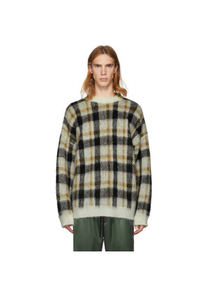 CMMN SWDN Brown & White Mohair Check Micha Sweater
