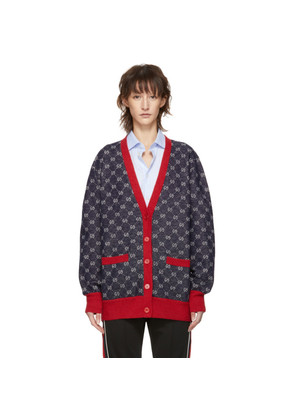 Gucci Navy & Red GG Cardigan