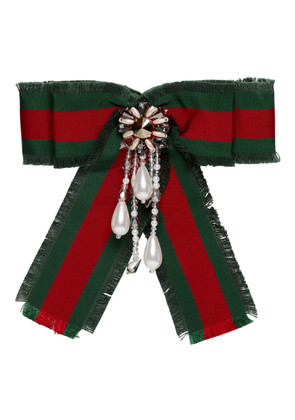 Gucci Red & Green Striped Ribbon Brooch