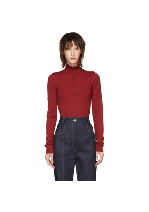 Carven Red Button Frill Turtleneck