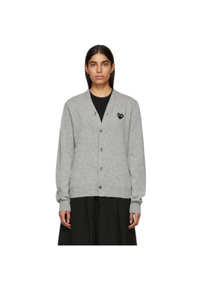 Comme des Garçons Play Grey Men's Fit Heart Patch V-Neck Cardigan