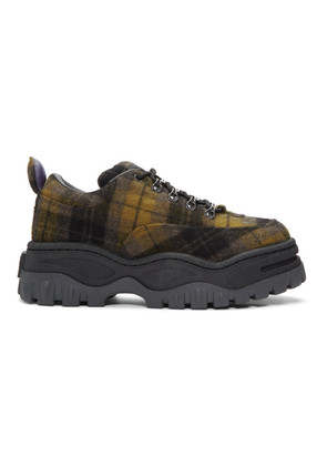 Eytys Black & Khaki Tartan Angel Sneakers