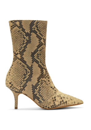 YEEZY Tan Faux-Python Leather Boots