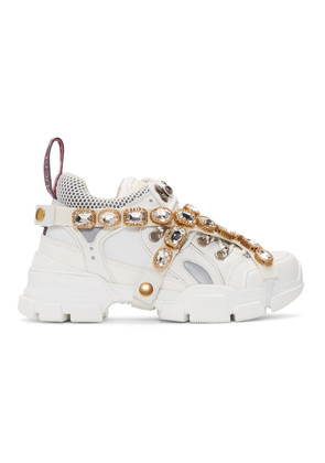 Gucci White Crystal Flashtrek Sneakers