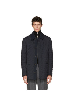 Brioni Reversible Blue Quilted Field Jacket