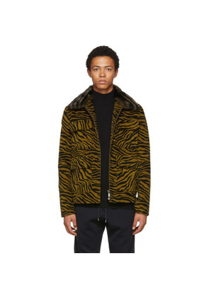 Bottega Veneta Black & Yellow Lamb Shearing Zebra Jacket