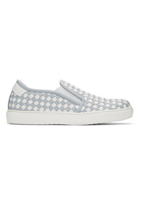 Bottega Veneta Blue & White Intrecciato Slip-On Sneakers