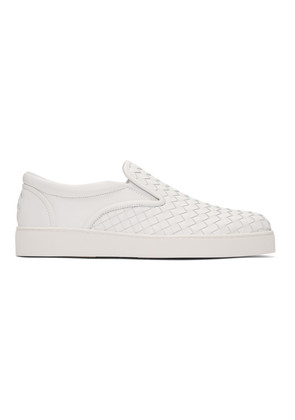 Bottega Veneta White Intrecciato Dodger Slip-On Sneakers