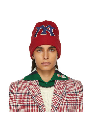 Gucci Red NY Yankees Edition Patch Beanie