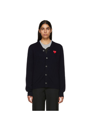 Comme des Garçons Play Navy Men's Fit Heart Patch V-Neck Cardigan