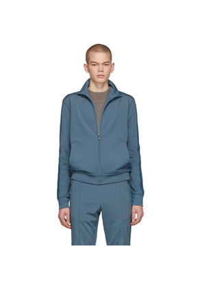 Bottega Veneta Blue Jersey Zip-Up Sweater
