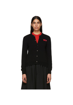 Comme des Garçons Play Black Double Heart Patch Cardigan
