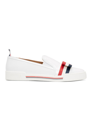 Thom Browne White Bow Slip-On Sneakers
