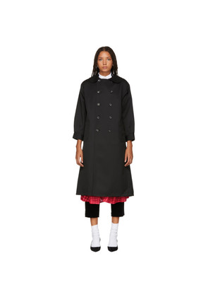 Tricot Comme des Garçons Black Double-Breasted Trench Coat
