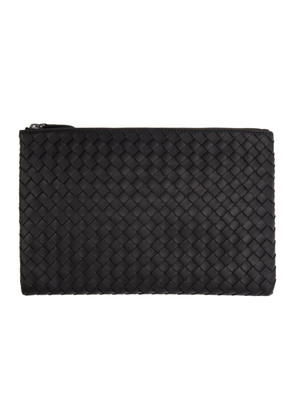 Bottega Veneta Black Medium Intrecciato Zip Pouch