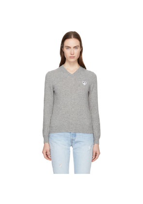 Comme des Garçons Play Grey Heart Patch V-Neck Sweater