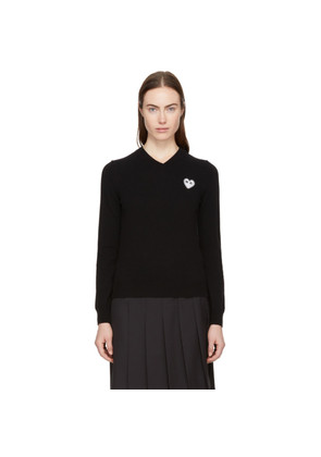 Comme des Garçons Play Black Heart Patch V-Neck Sweater