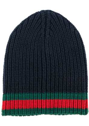 Gucci GG vintage web ribbed beanie - Blue