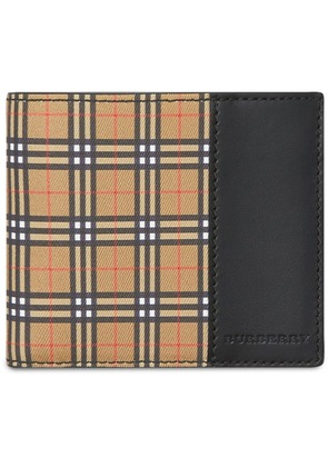 Burberry Small Scale Check and Leather Bifold Wallet - Neutrals