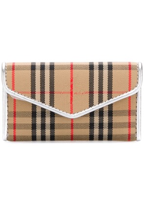 Burberry London 1983 Check and Leather Envelope Card Case - Neutrals