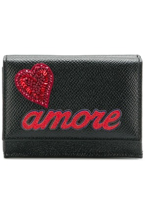 Dolce & Gabbana small folded wallet with Amore appliqué - Black