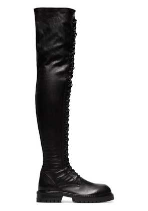 Ann Demeulemeester knee-length lace-up leather boots - Black