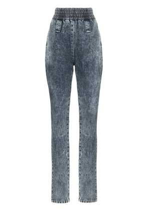 Miu Miu high-waisted elasticated cuff jeans - F0008 Bleu