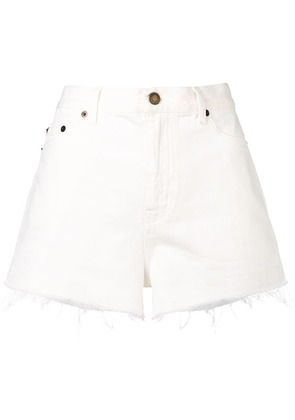 Saint Laurent classic ripped denim shorts - White