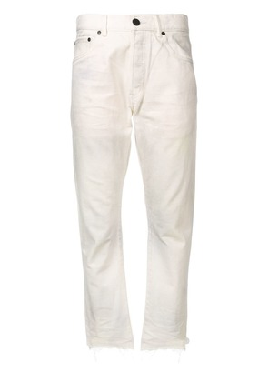 John Elliott raw hem tapered jeans - White