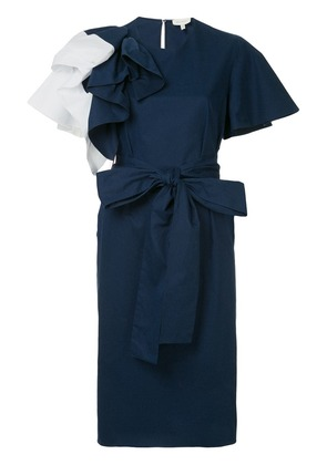Delpozo ruffle trim shift dress - Blue