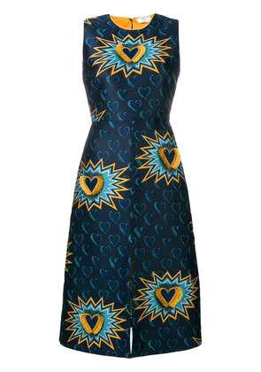 Fendi embroidered fitted dress - Blue