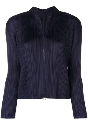 Pleats Please By Issey Miyake pleated zip jacket - Blue