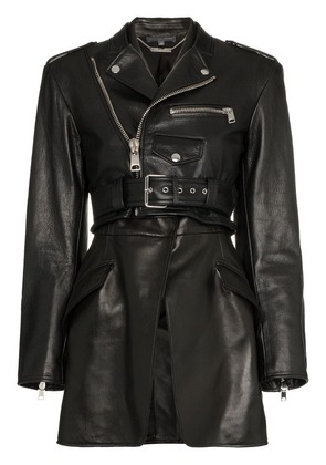 Alexander McQueen Leather Biker Jacket - Black