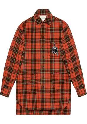 Gucci Oversize check wool shirt with anchor - Orange