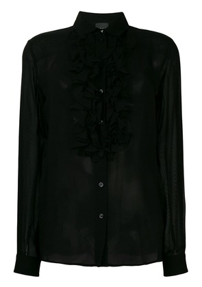 Just Cavalli frill-trim fitted blouse - Black