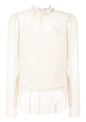 See By Chloé ruffled sheer blouse - Neutrals