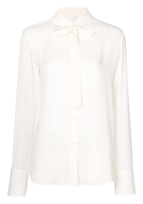 Valentino pussy bow silk blouse - White