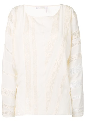 Chloé embroidered paneled blouse - White